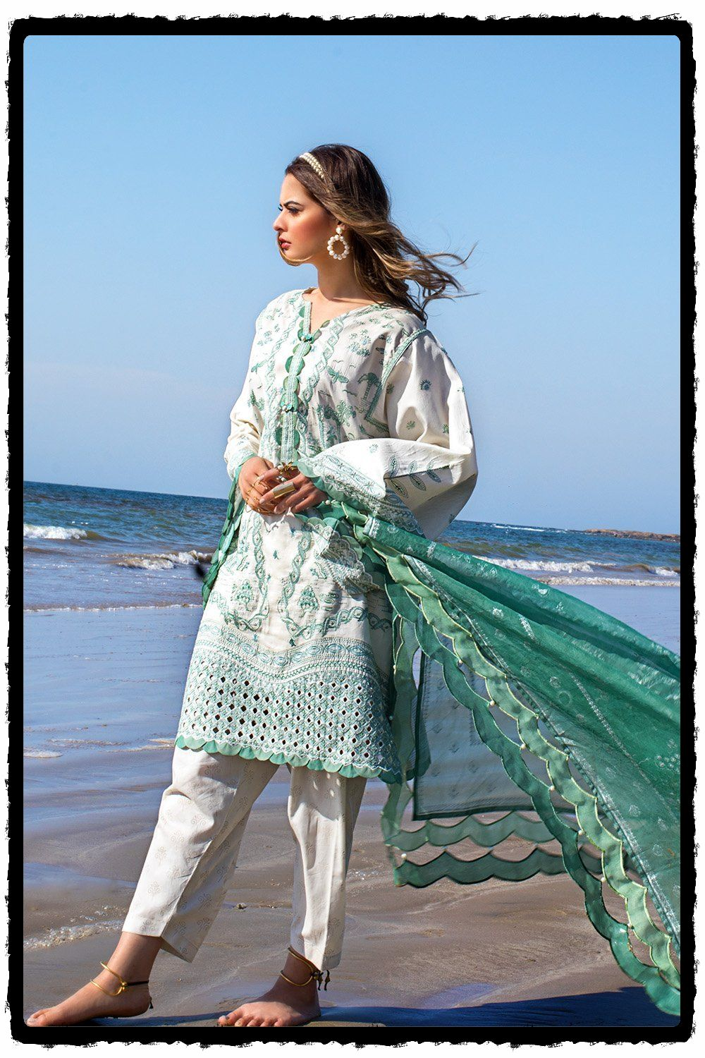 nile mint embroidered lawn suit