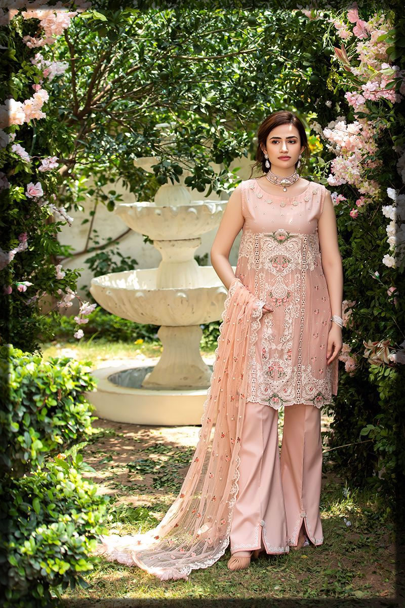 pastel peach luxury lawn dress