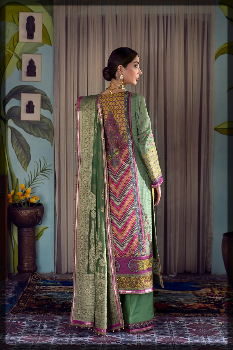 pink and green lawn embroidered suit