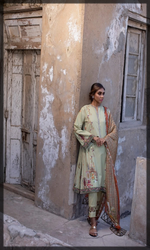 pista green embroidered lawn dress