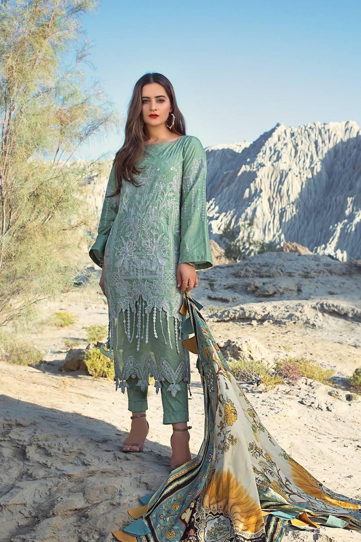 pistachio selene lawn embroidered dress
