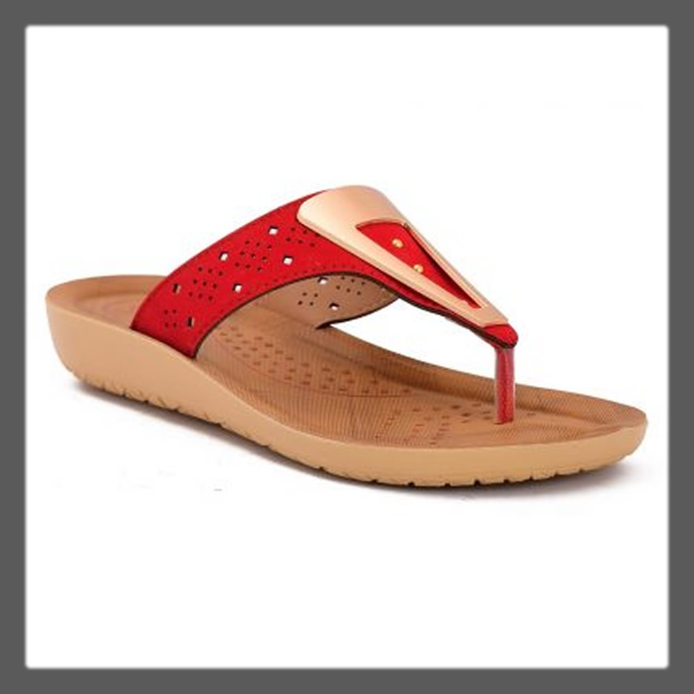 red casual chappal for women