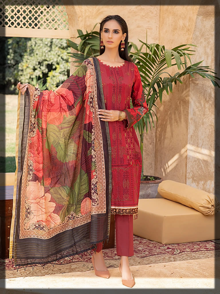 red embroidered lawn dress