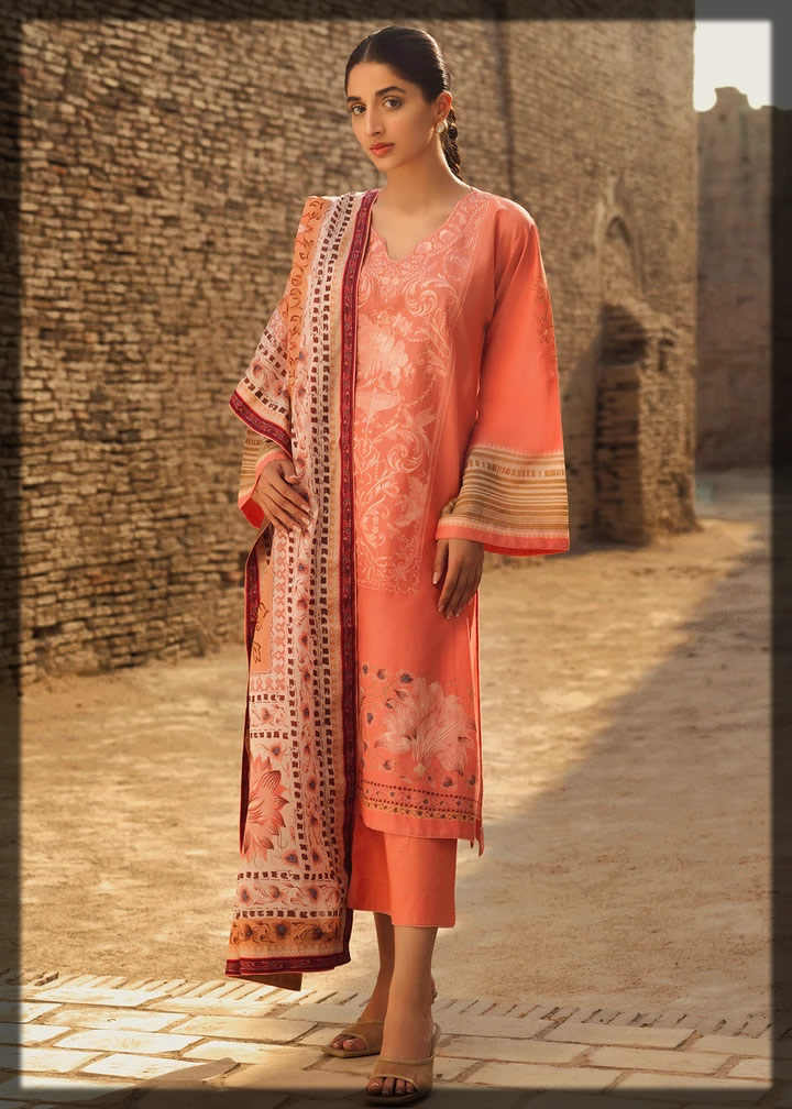 rose quartz embroidered lawn suit
