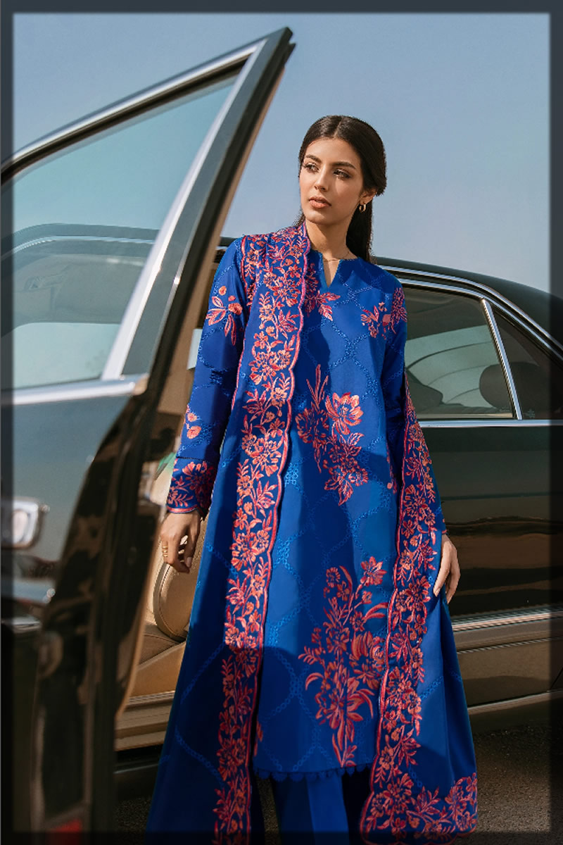 royal blue embroidered suit