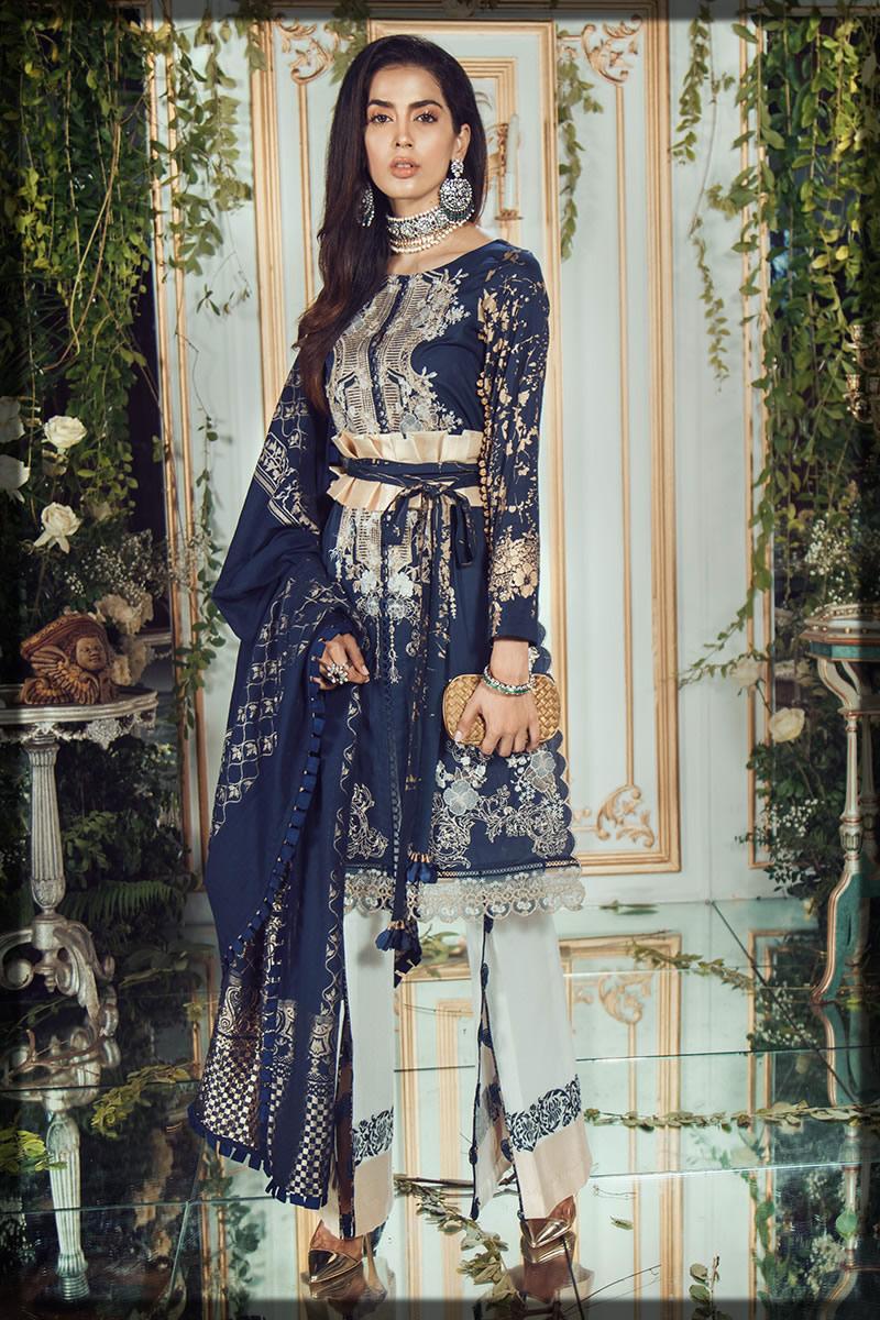 royal blue festive lawn dress