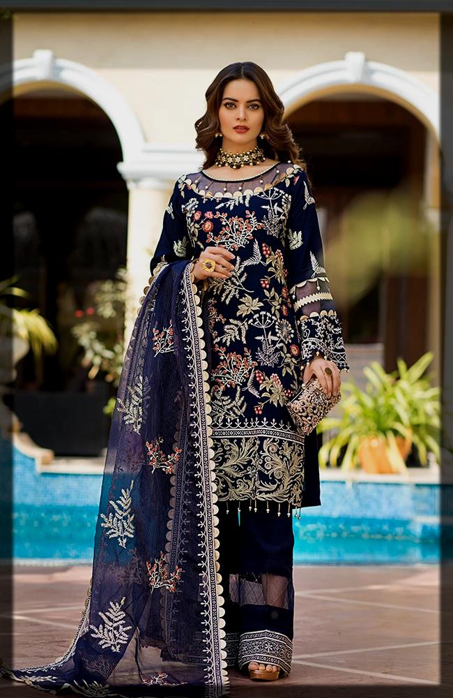 royal blue Al Zohaib Te0xtiles Summer dresses