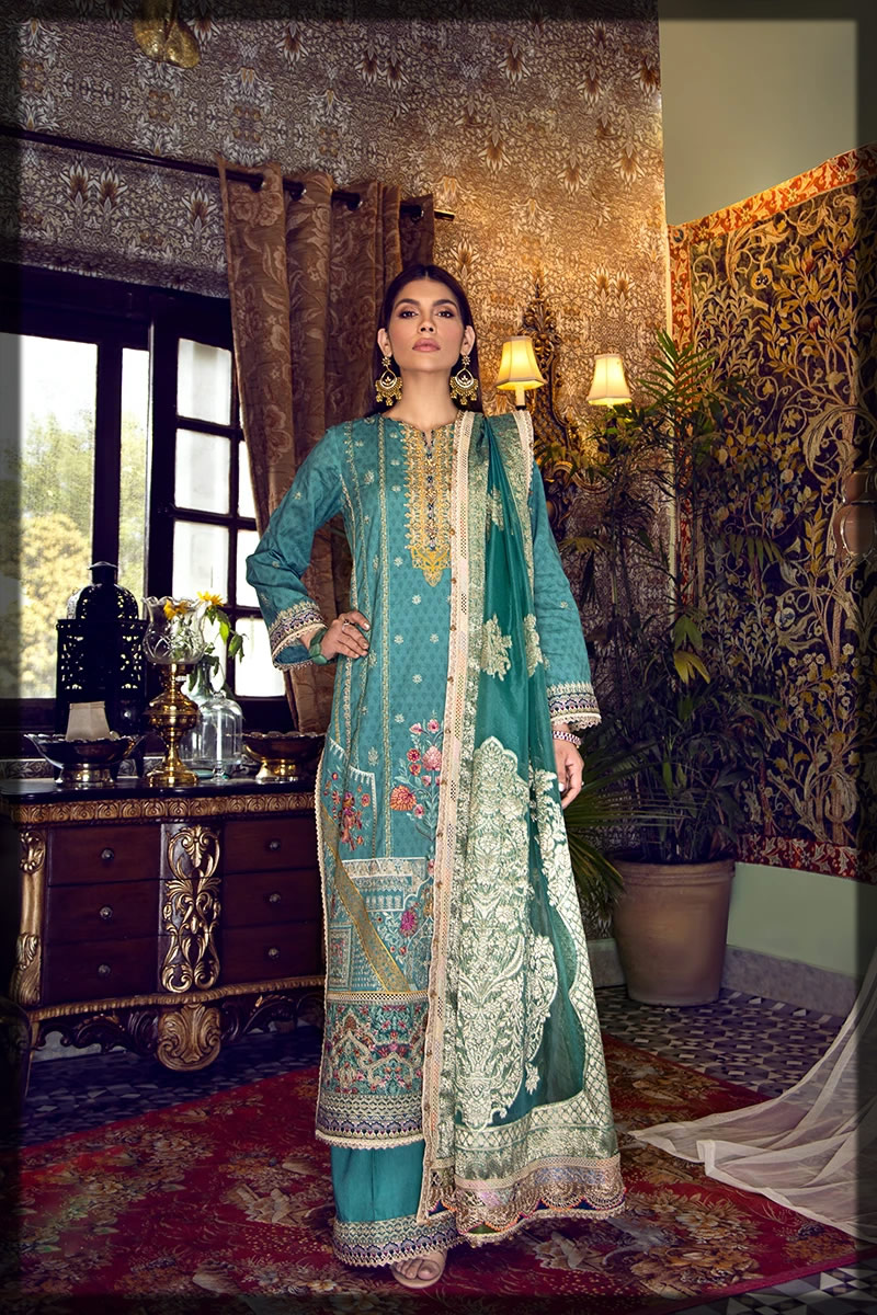 sea green embroidered dress