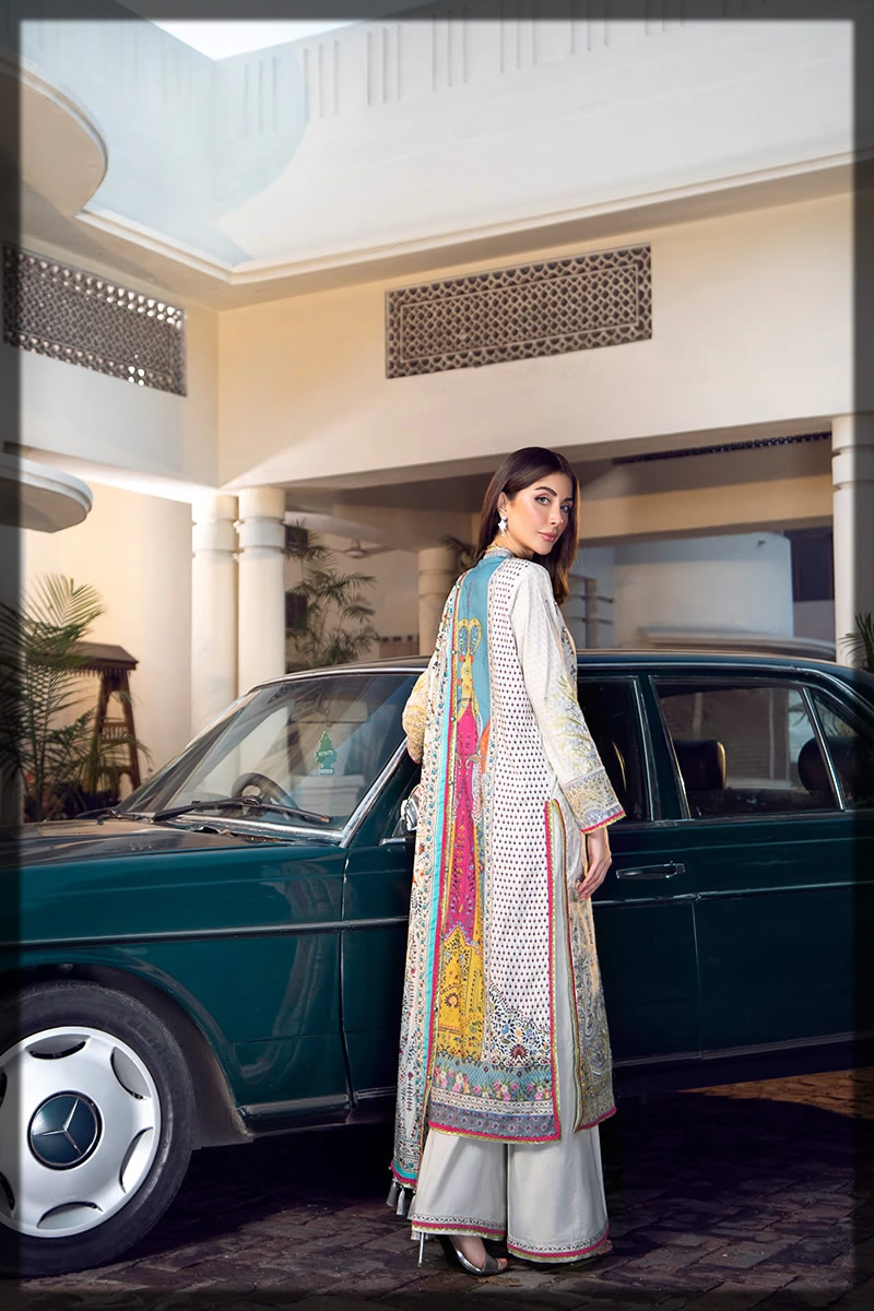 sequined embroidered white lawn dress