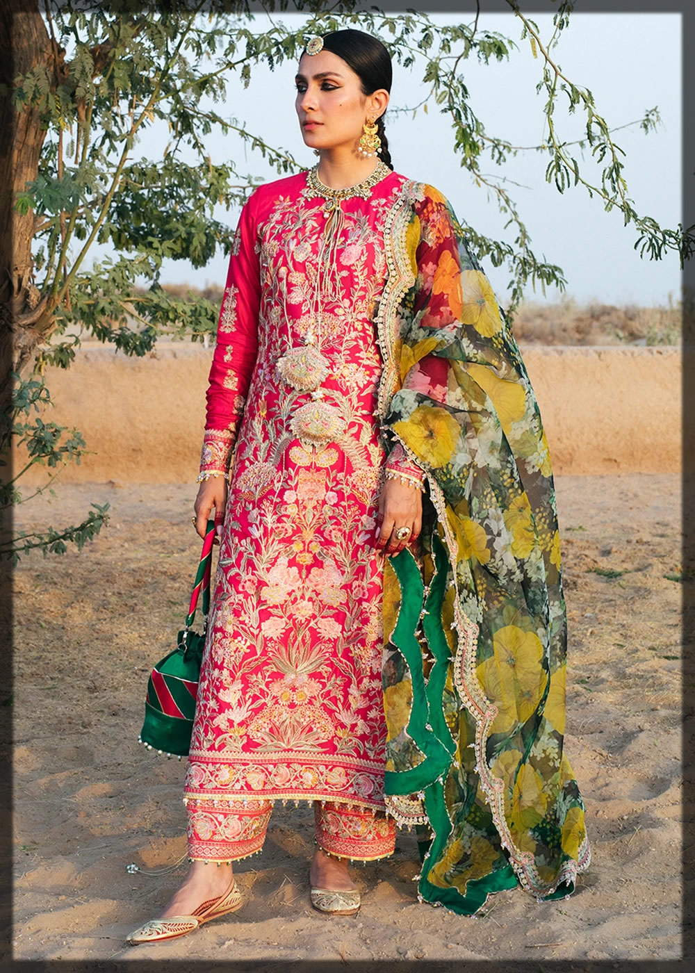 shocking pink luxury lawn dress