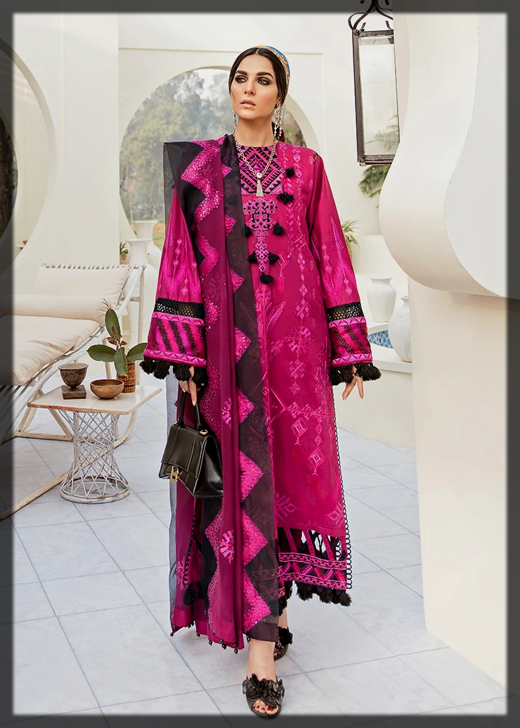shocking pink summer suit by Afrozeh