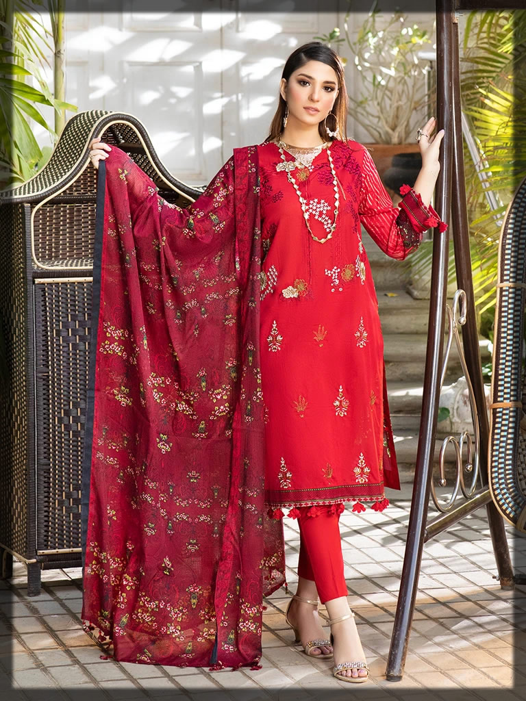 striking red embroidered lawn suit
