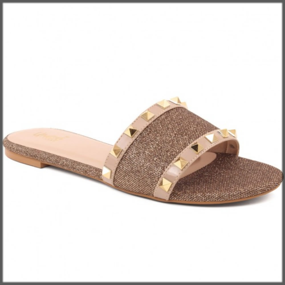 studded brown casual slipper