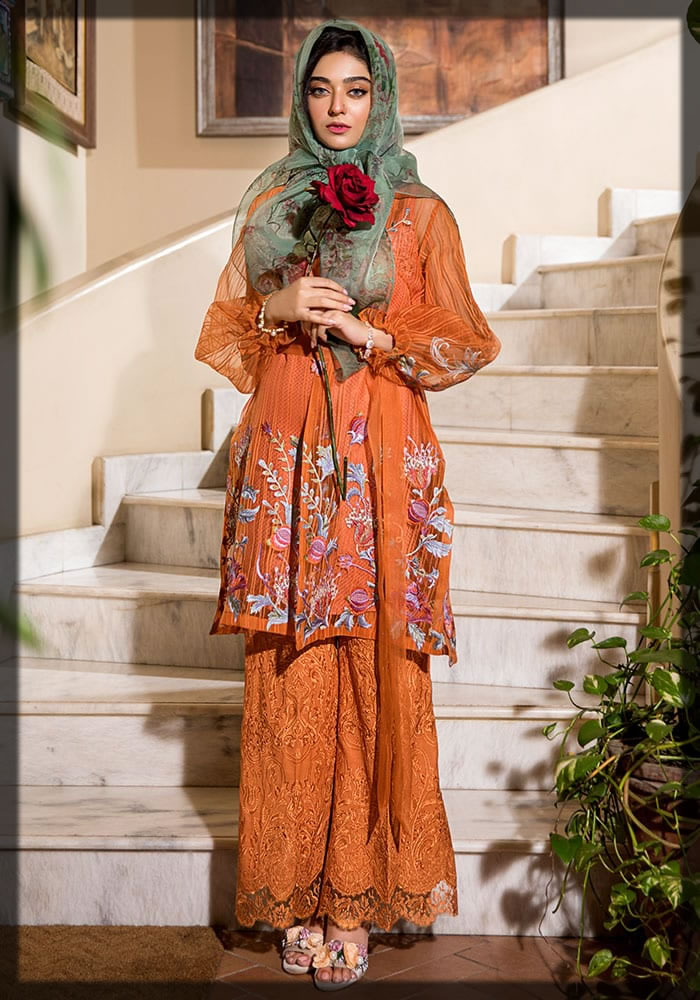stunning amber flame spring Nilofer Shahid Luxury Lawn