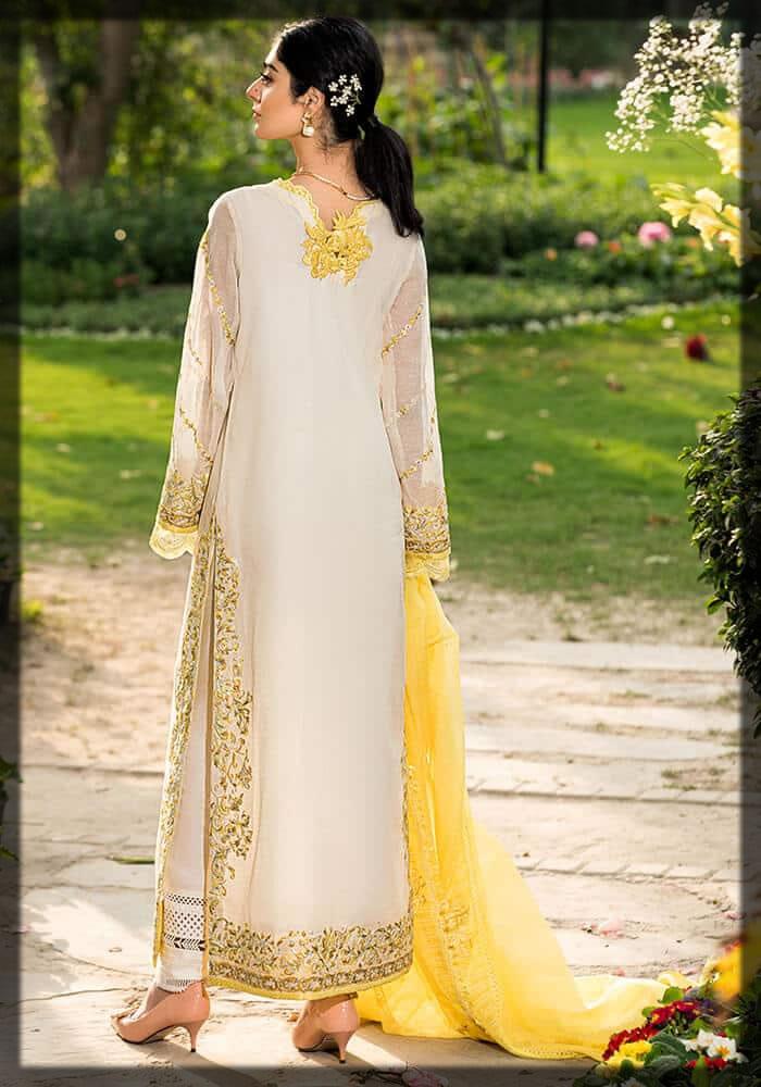 stunning ivory net embroidered dress