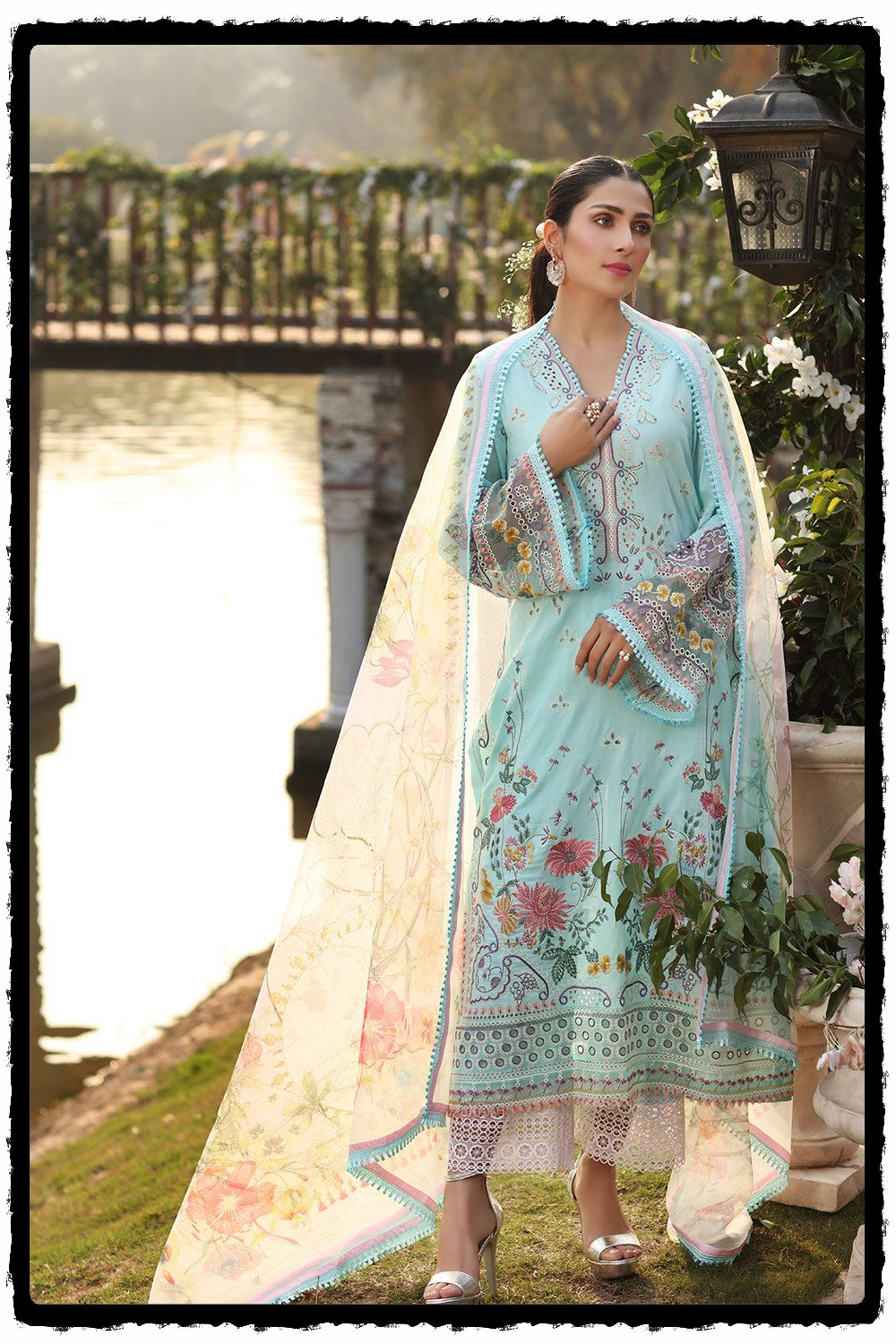 stylish floral embroidered blue lawn dress