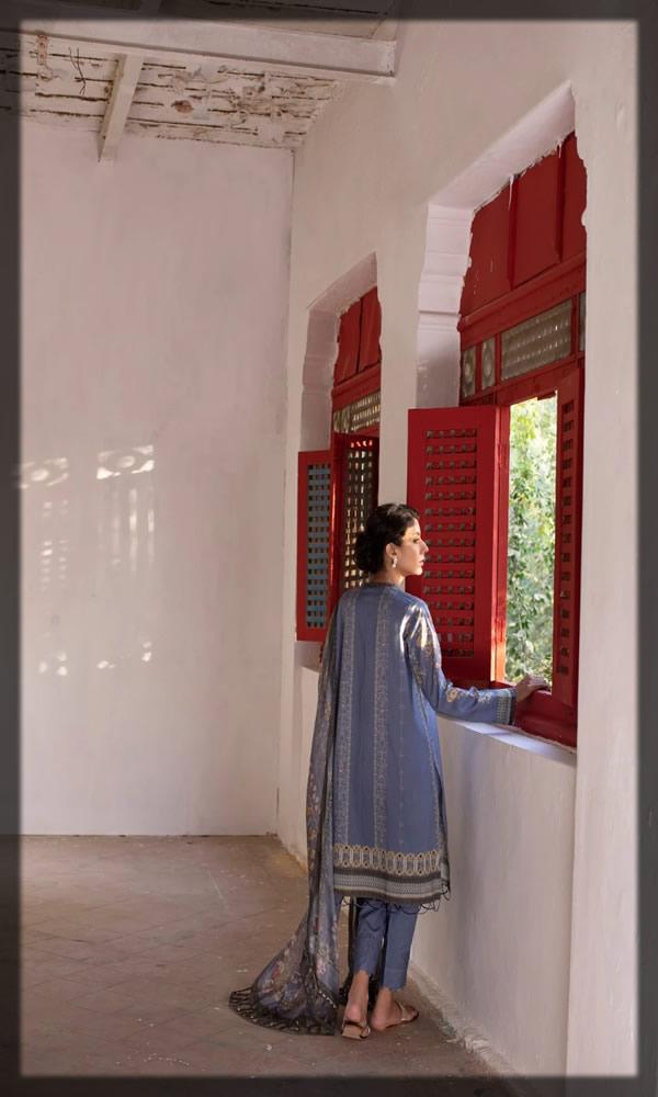 stylish indigo blue lawn dress
