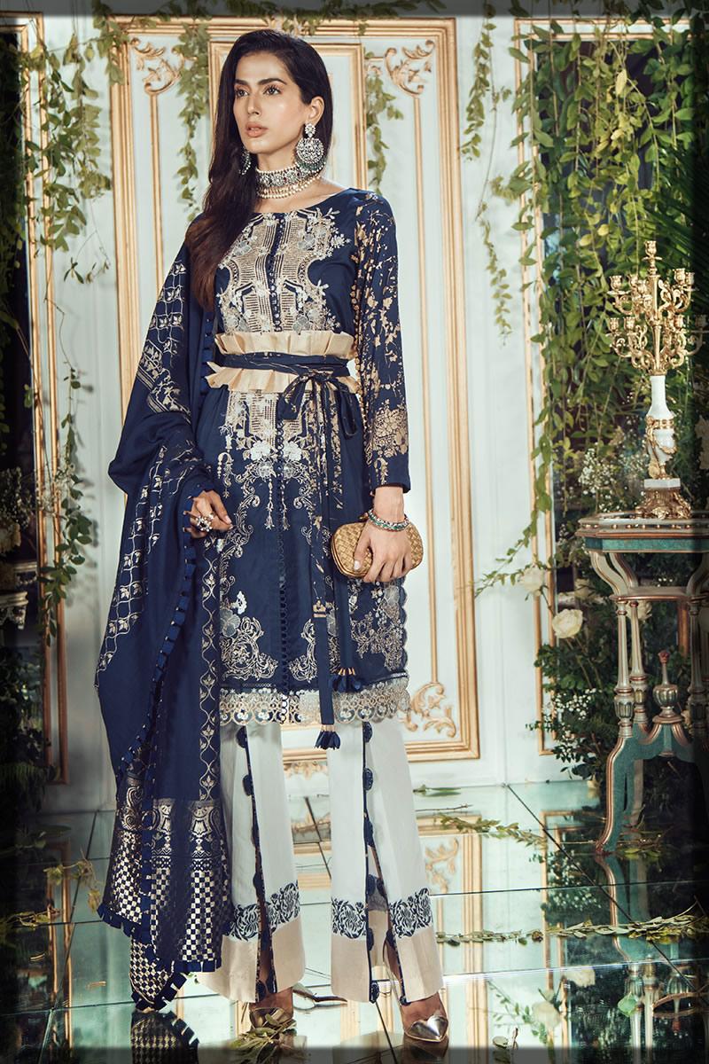 stylish royal blue lawn suit