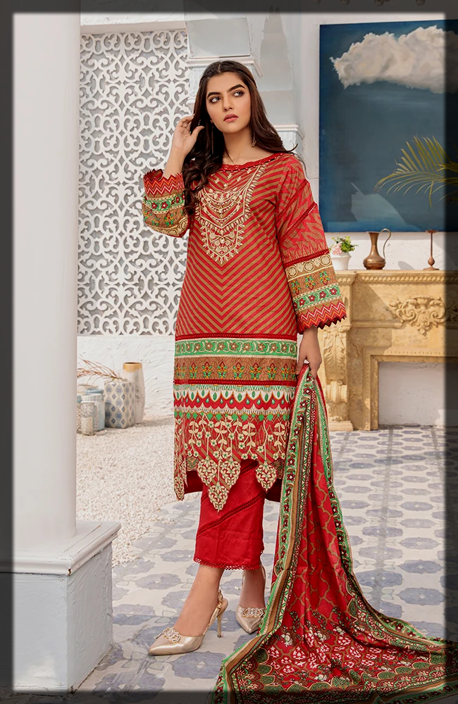 summer lawn suit with printed lawn dupatta