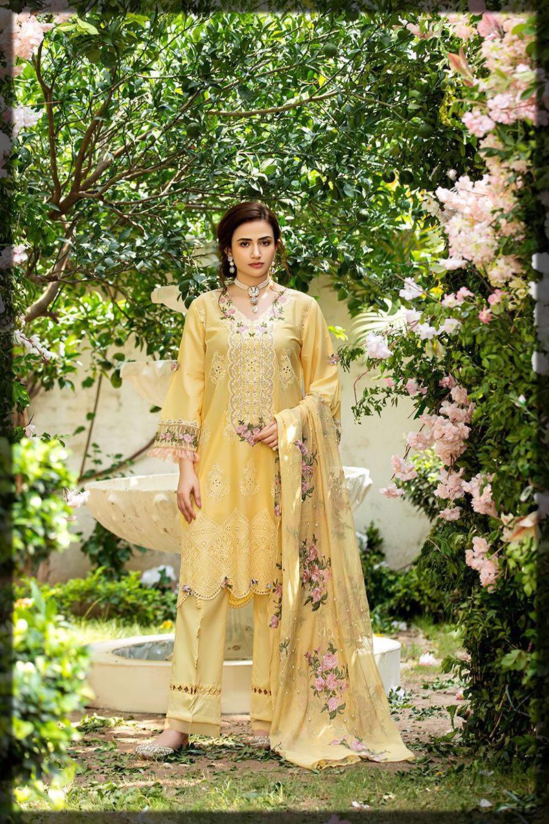 sunny yellow luxury lawn dress