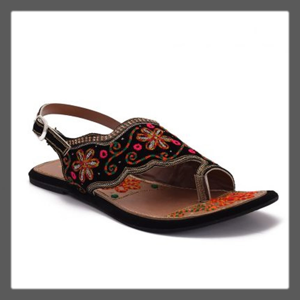 traditional black sandals