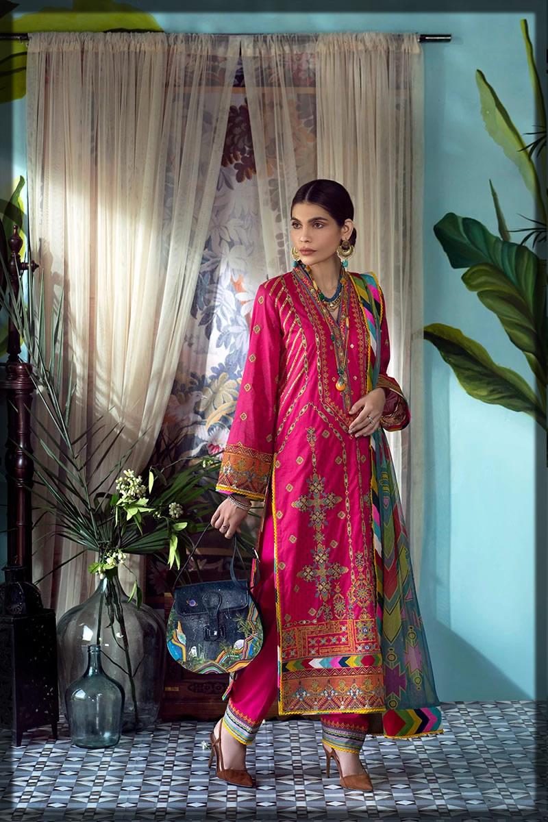 voguish pink luxury lawn dress
