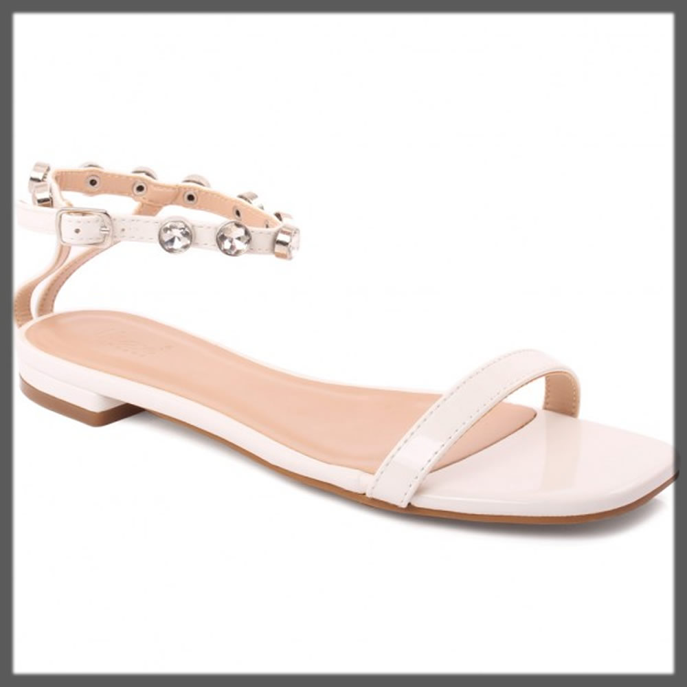 white buckled sandals for women