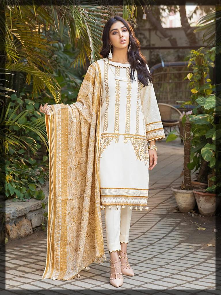 white shine lawn dress