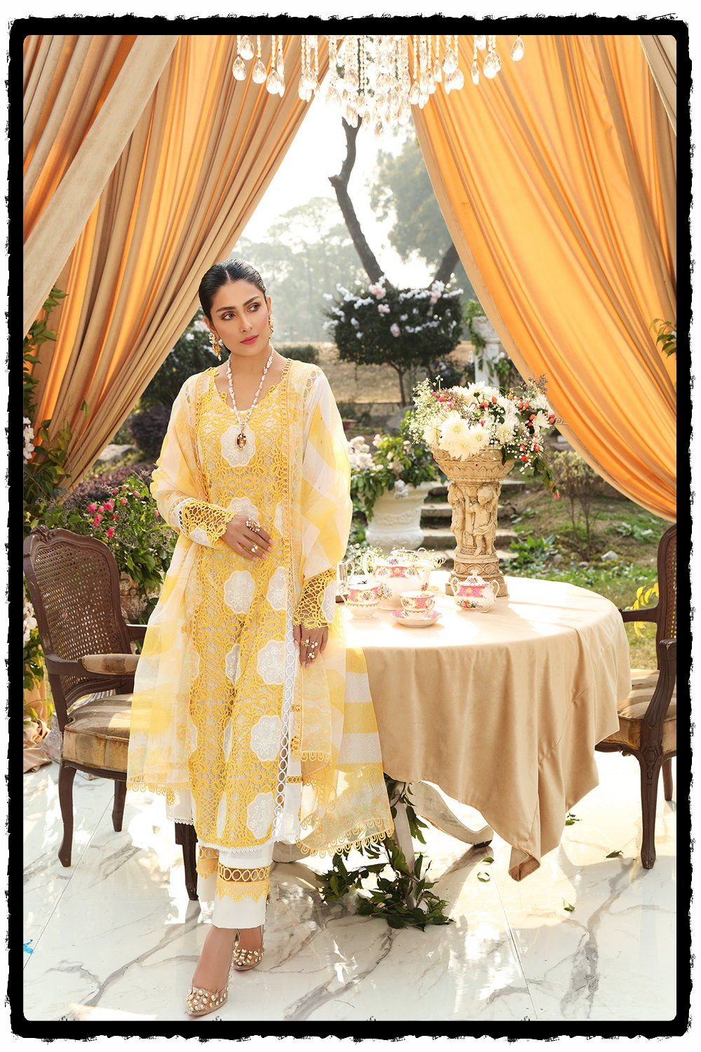 yellow and white lawn dress