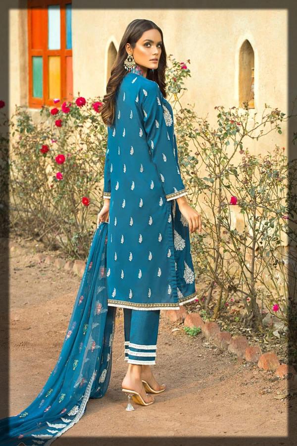 zinc blue embroidered lawn dress