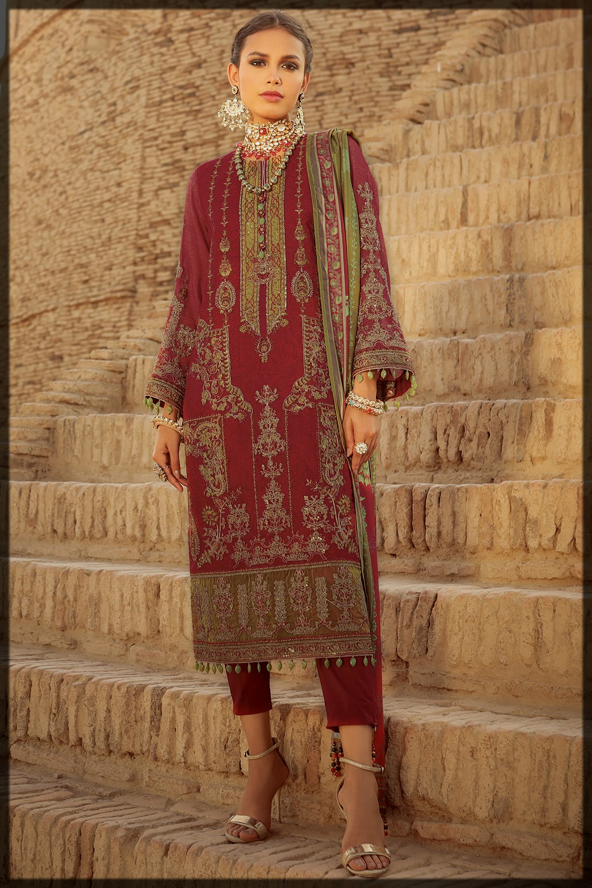 3 Pc Embroidered Suit With Tissue Silk Dupatta