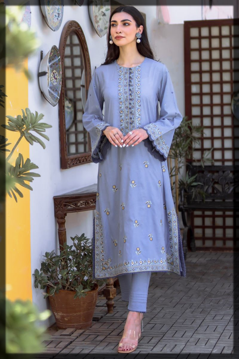 A-Line Embroidered Kurta with Pants