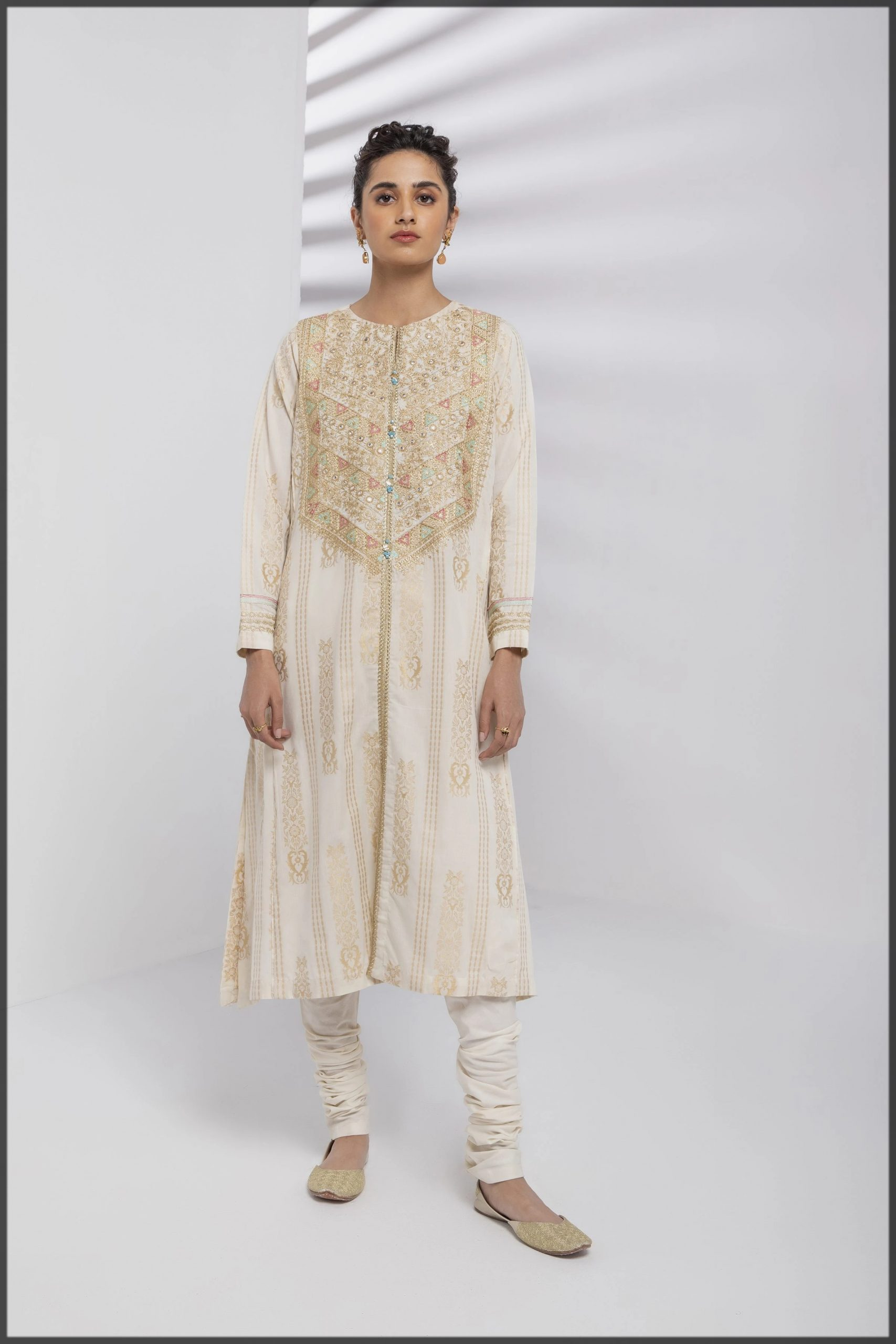 A line Beautiful embroidered kurta for women
