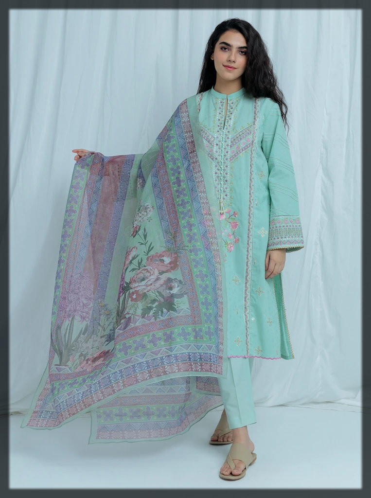 Arctic Blue 2PC Jacquard Eid Suit for Women
