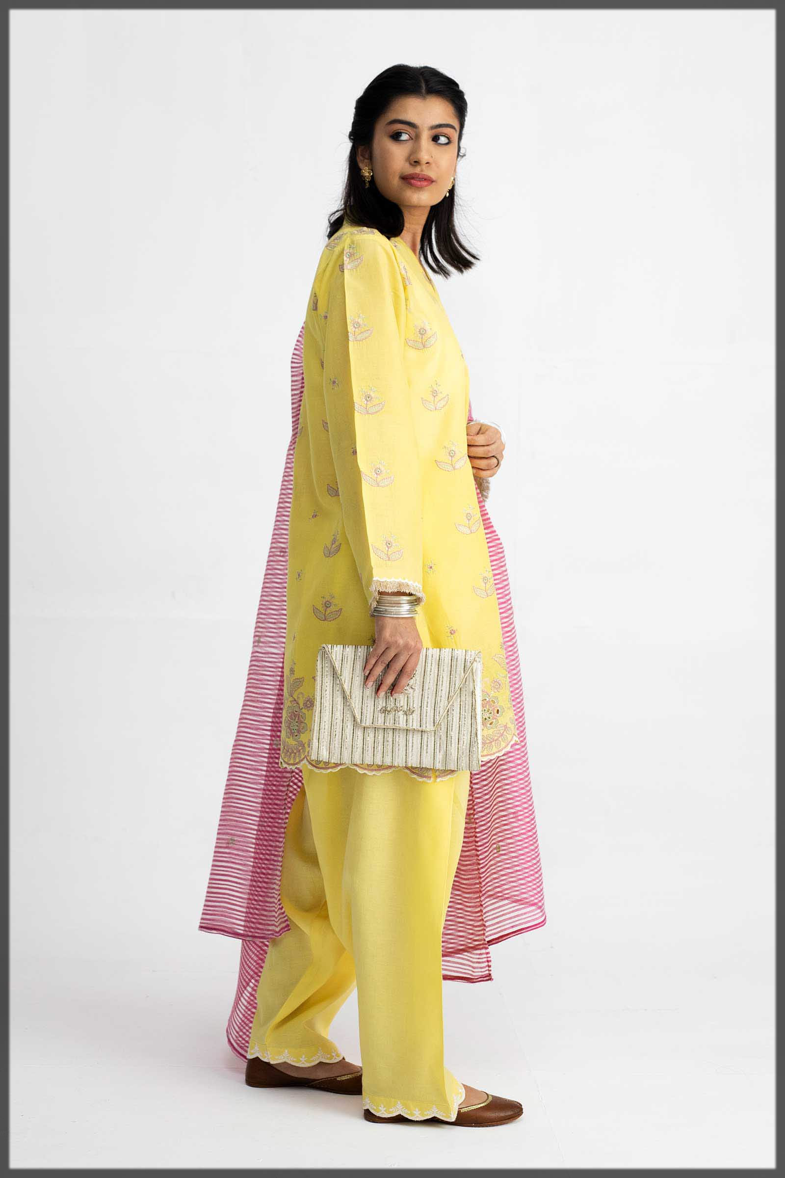 Beautiful Custard Yellow Outfit for Eid