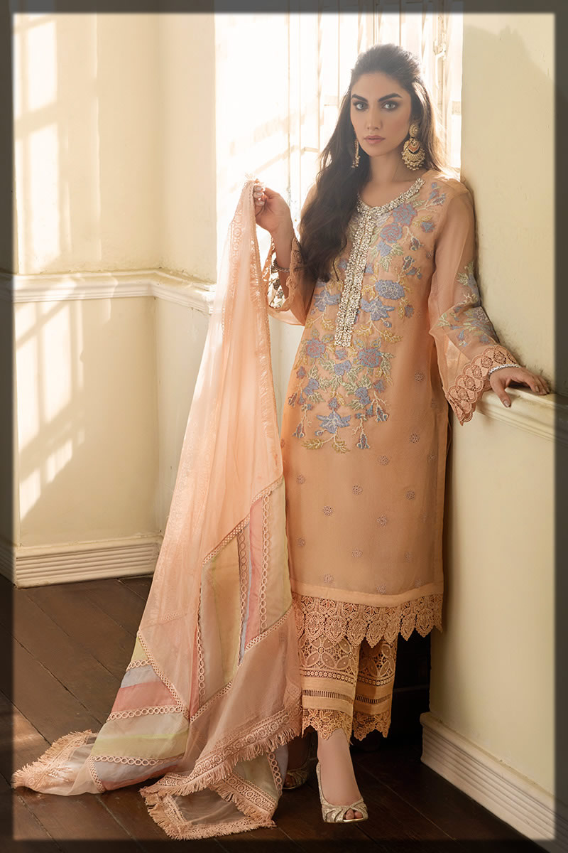 Beautiful Embroidered Peach Peony Outfit