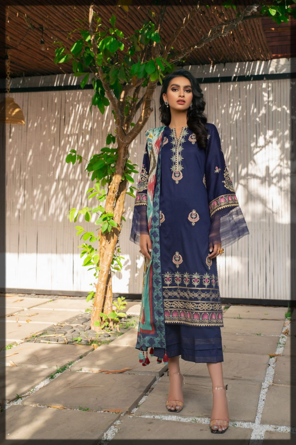 Blue Jacquard Embroidered Dress for Eid