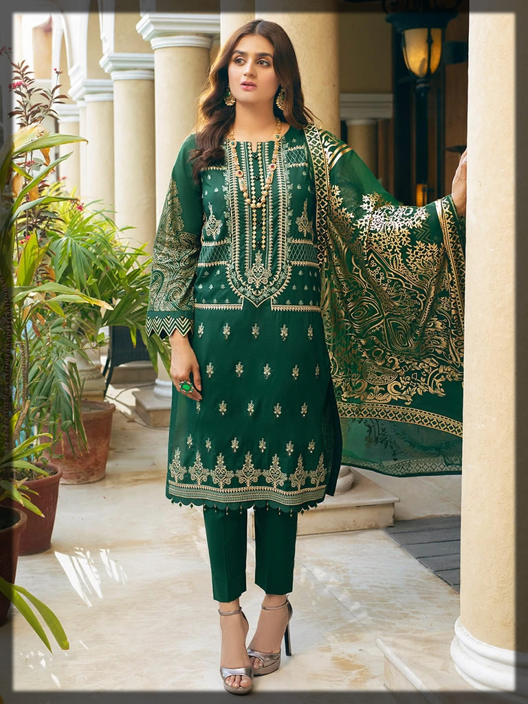 Bold Green Luxury Embroidered Eid Dress
