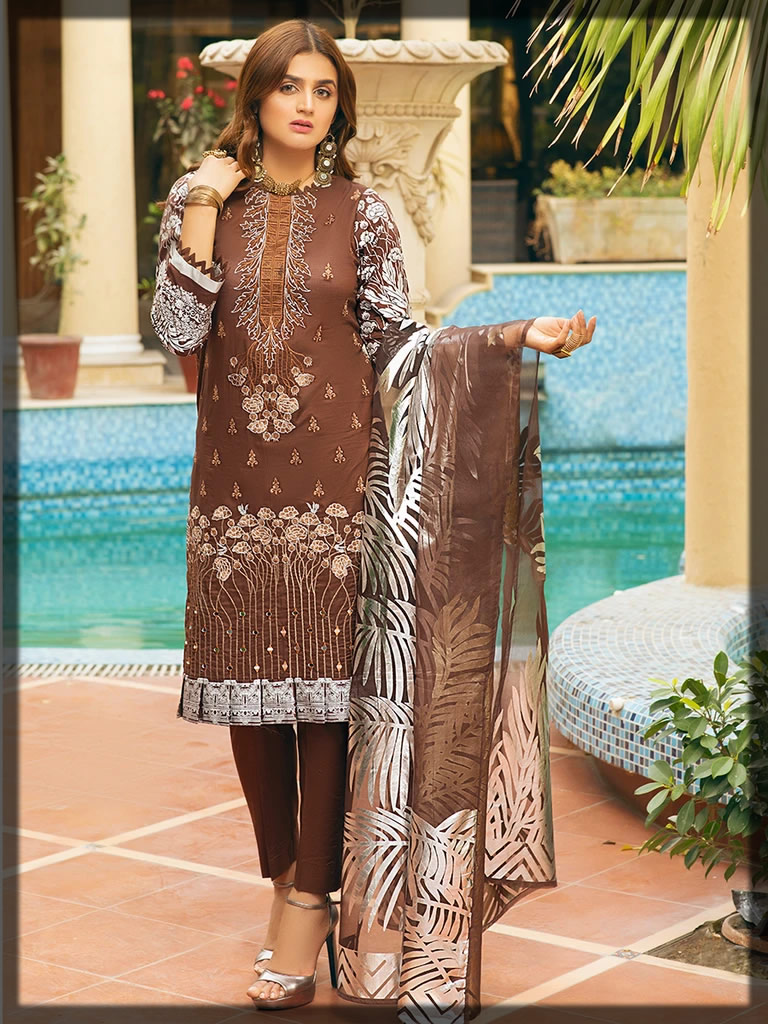 Brick Brown Luxury Lawn Outfit