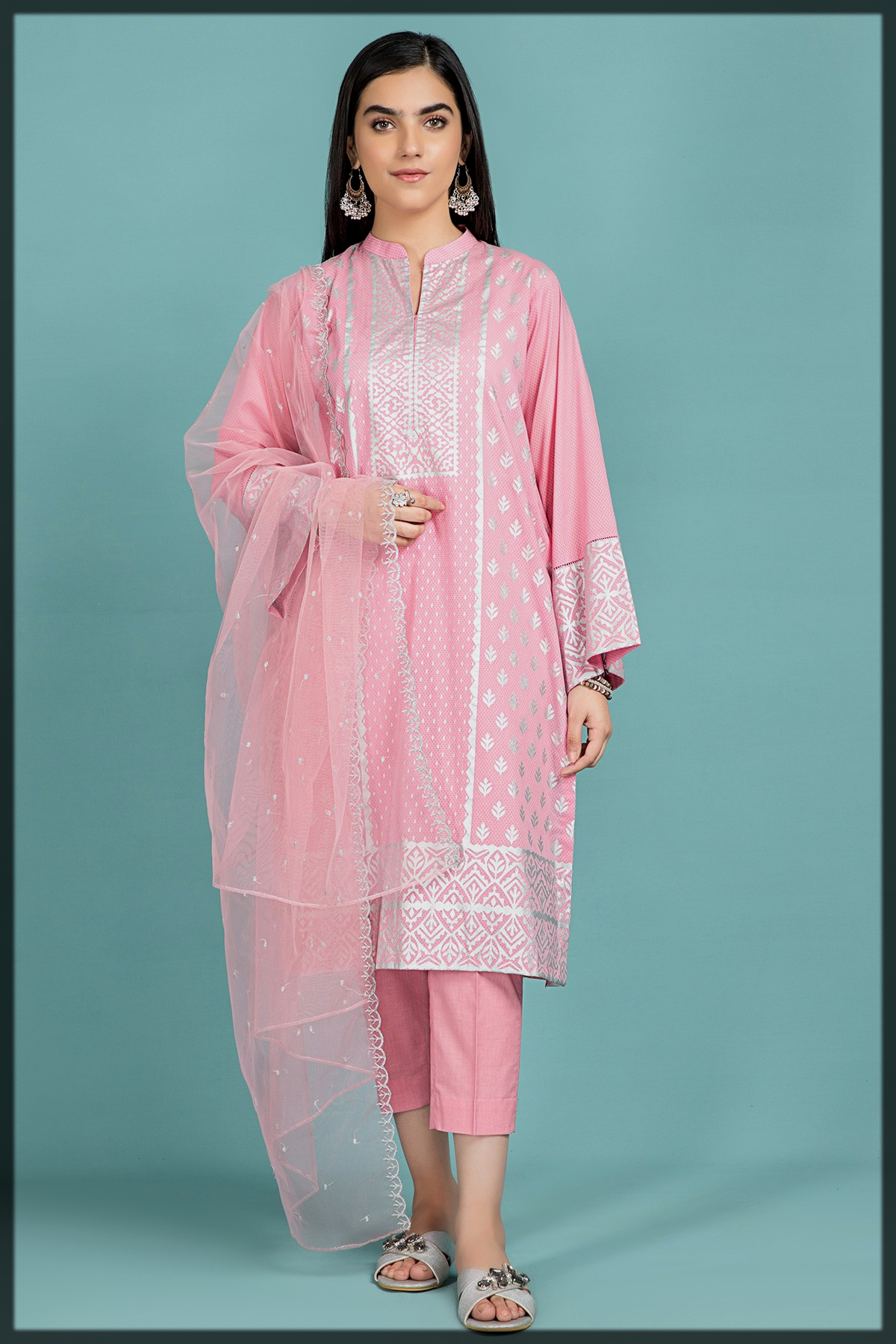 Cotton Lawn Printed Suit with Poly Net Embroidered Dupatta
