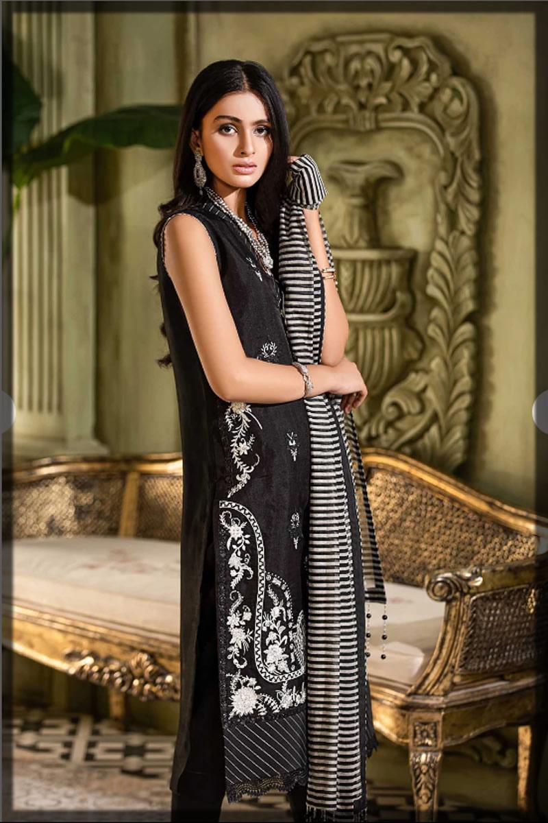Dazzling Black Organza Embroidered Dress