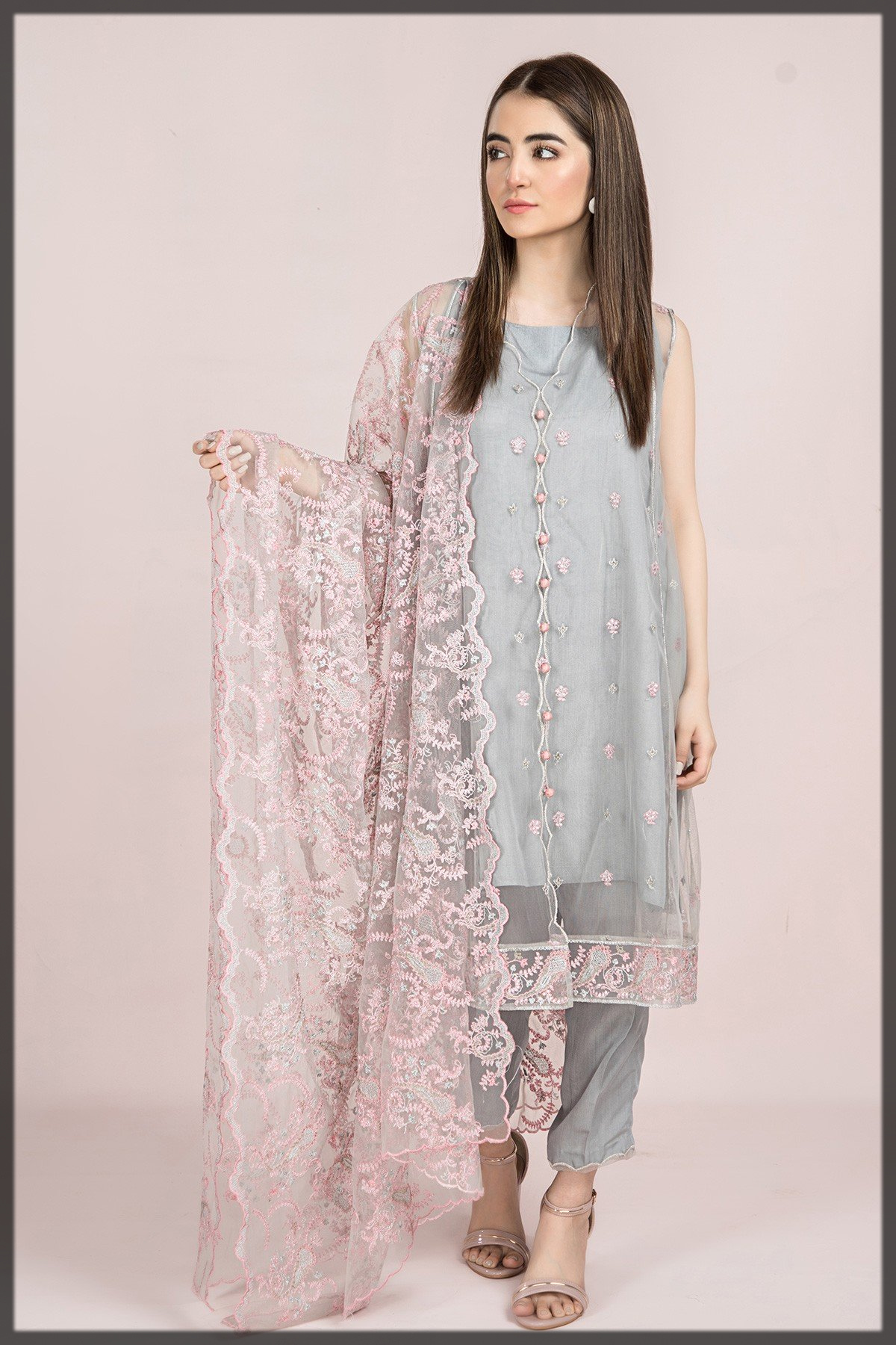 Dyed And Embroidered Poly Net 2PC Suit