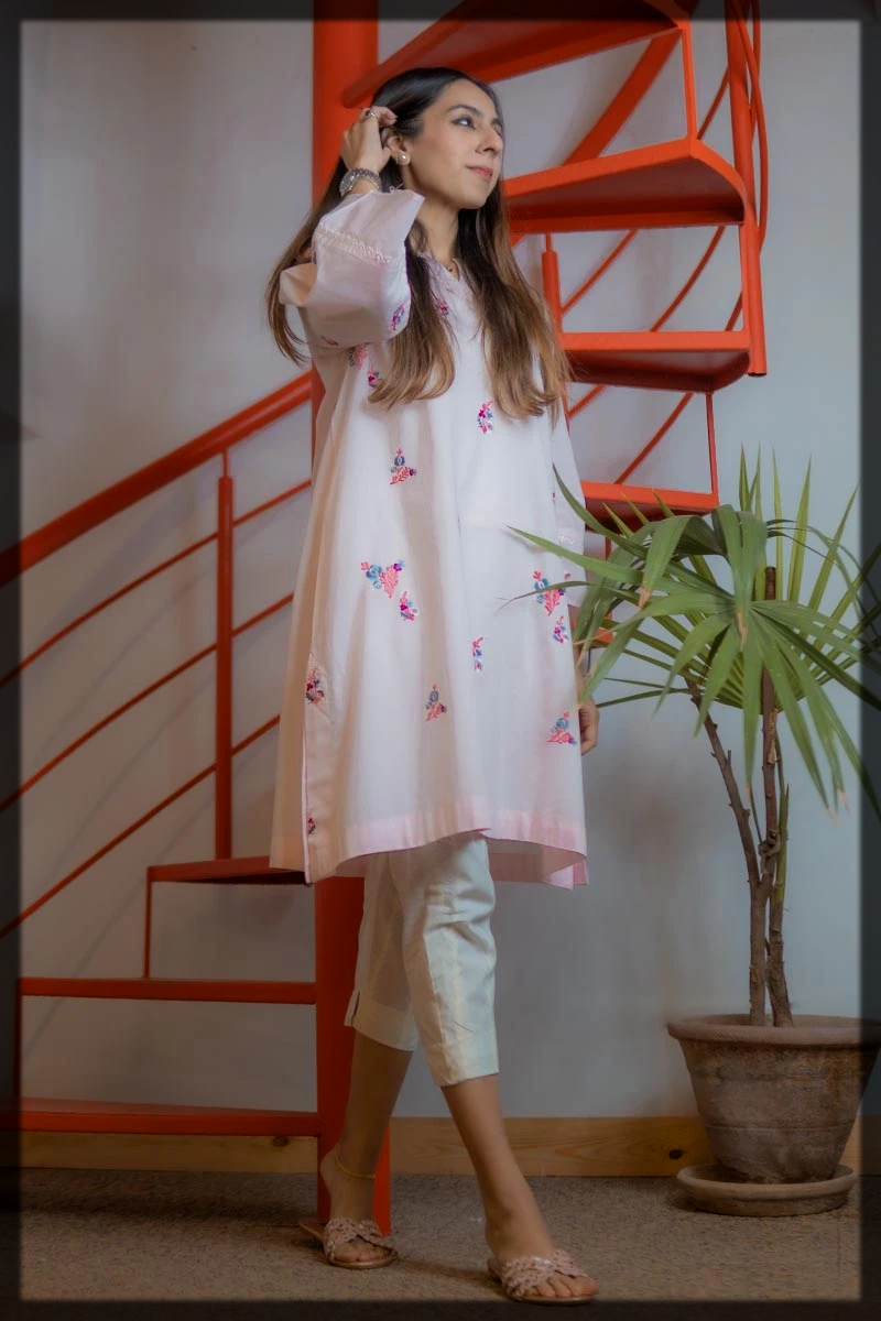 Elegant Baby Pink Kurta with Colorful Embroidery