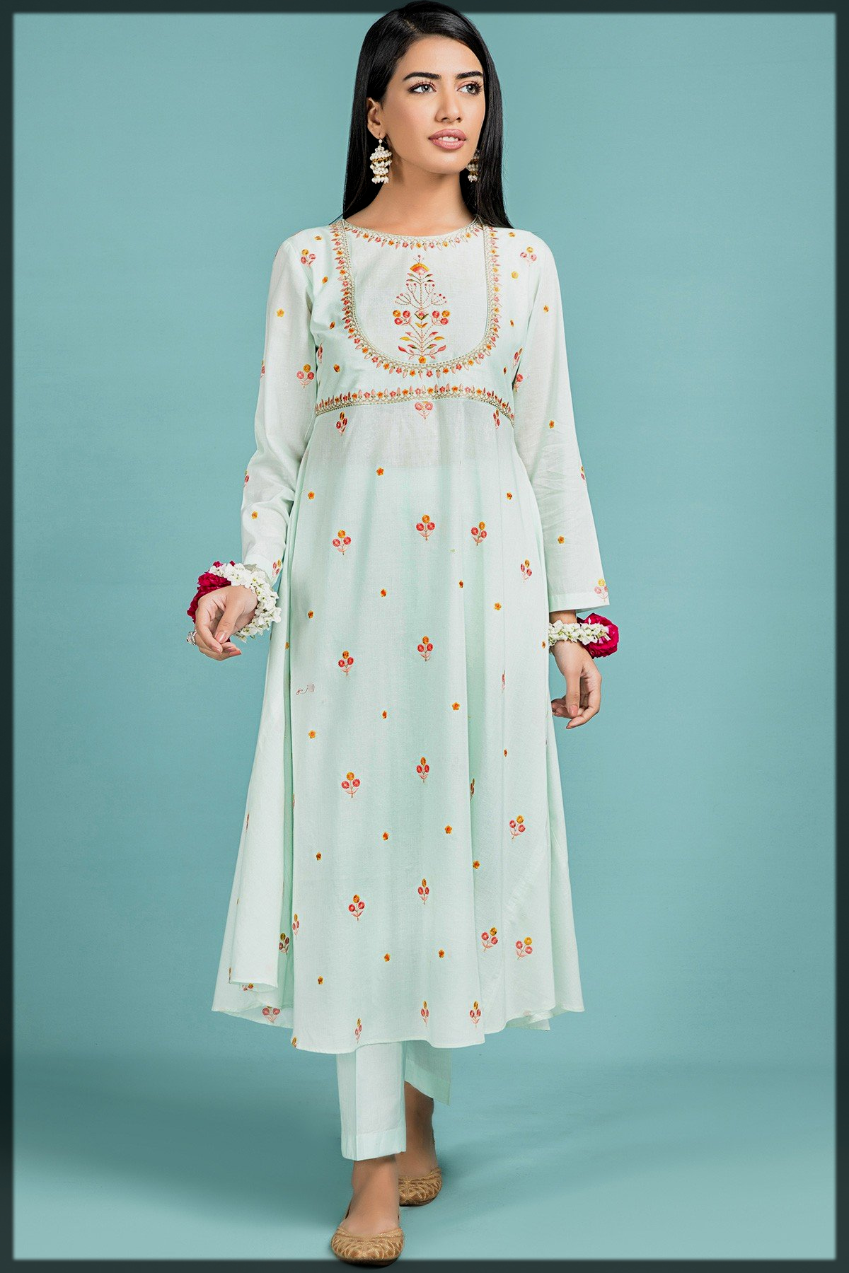 Embroidered Angrakha Style Flared Shirt with Straight Trousers