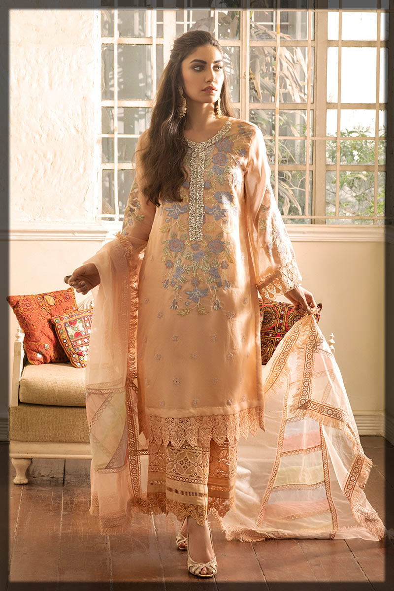 Embroidered Peach Peony Outfit