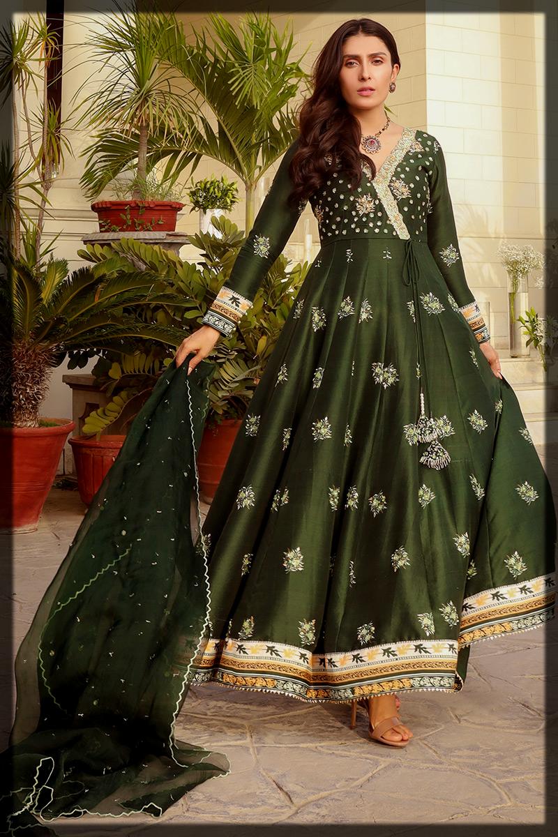 Emerald Digital Printed Angarkha Kalidar Suit