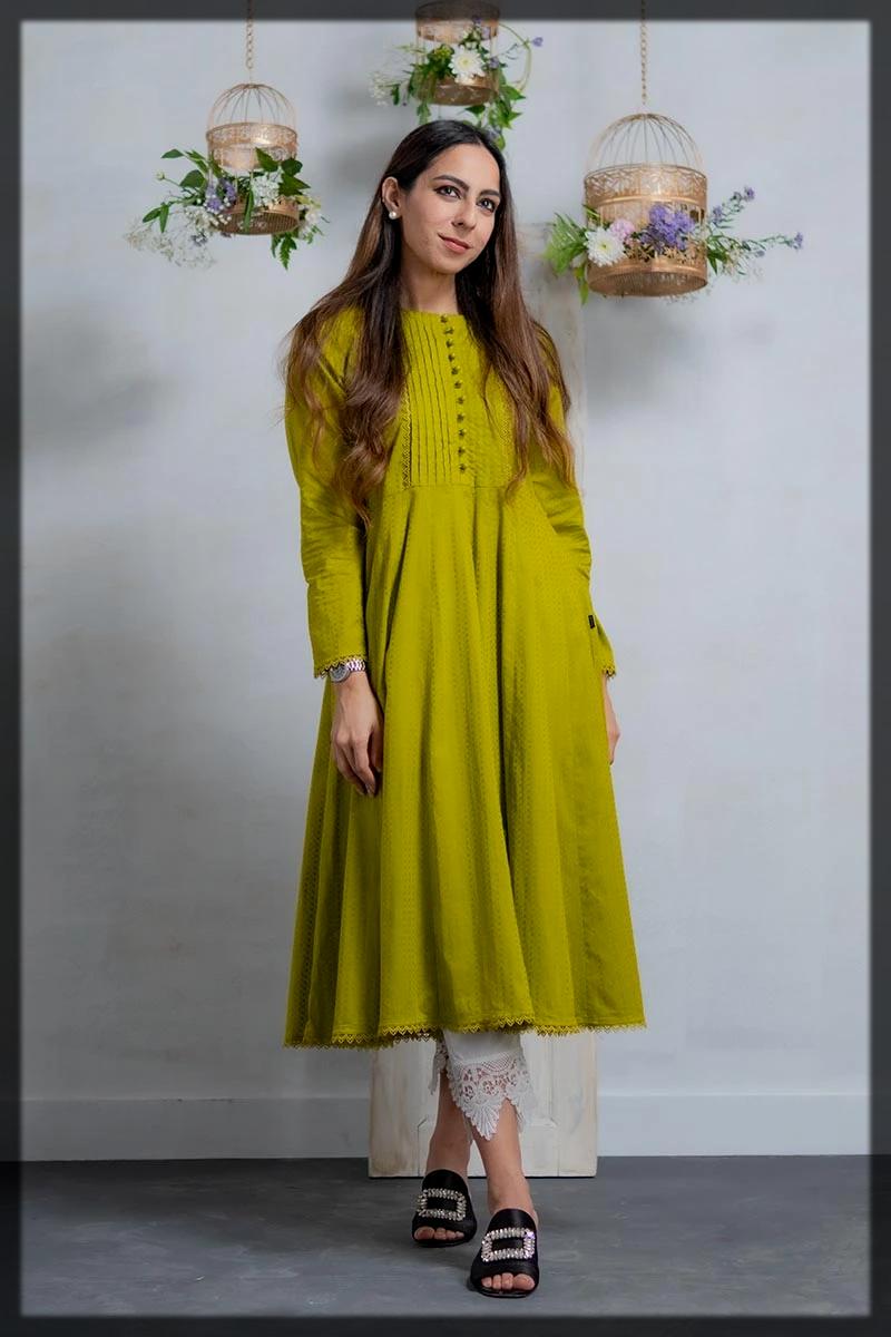 Flared Long Mehndi Green Kurta with Lace Embellishment