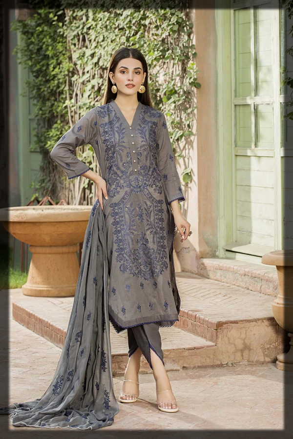 Grey Embroidered Lawn Suit