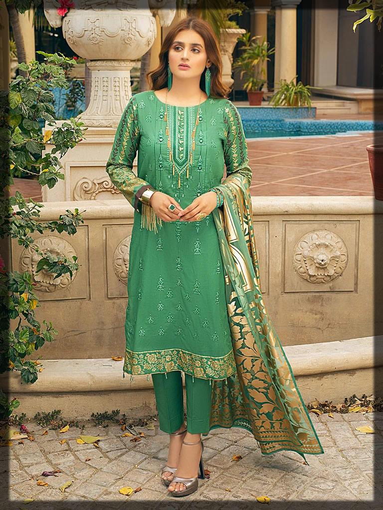 Kelly Green Embroidered Eid Ensemble