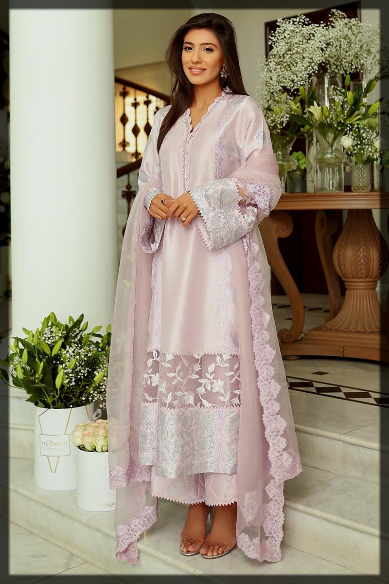Lavender Raw Silk Ansab Jahangir Eid Suit